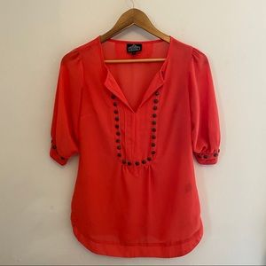 🛍 Angie Coral rivet accent blouse